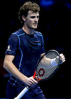 Jamie Murray of Great Britain and his doubles partner John Peers of Australia celebrate at the ATP World Tour Finals, The O2, London, 2015