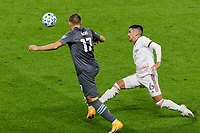 ST PAUL, MN - SEPTEMBER 27: Robin Lod #17 of Minnesota United FC and Pablo Ruiz #6 of Real Salt Lake battle for the ball during a game between Real Salt Lake and Minnesota United FC at Allianz Field on September 27, 2020 in St Paul, Minnesota.