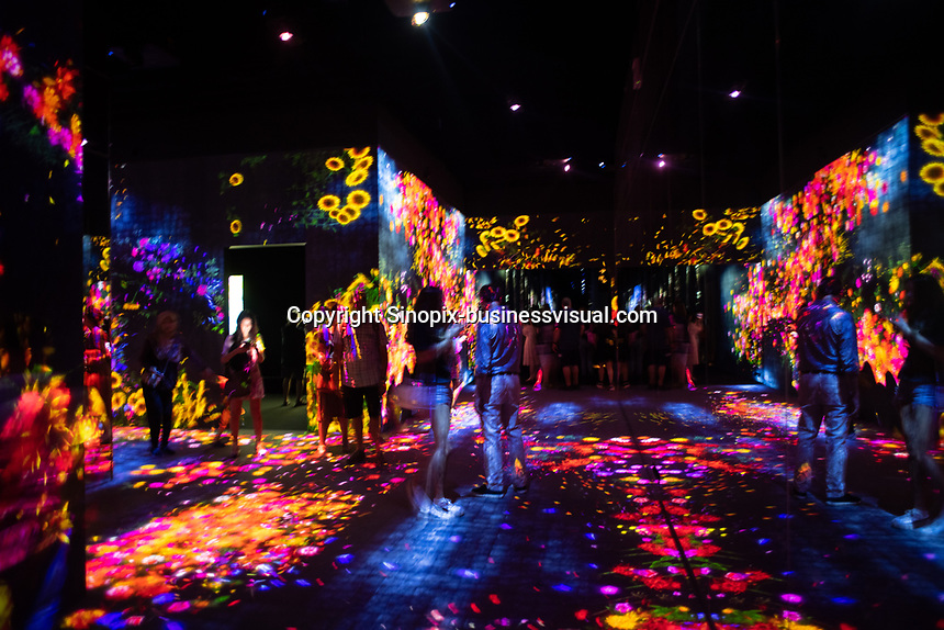 "The ""Flower Forest"" in Team Lab's Borderless digital museum in Tokyo, Japan, July, 2019. The digital museum is one of Tokyo's most popular attractions and uses innovative digital audio-visual displays."