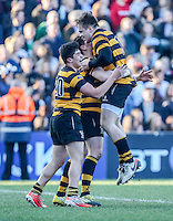 SCF2016 - RBAI vs Campbell College | Thursday 17th March 2016<br /> <br /> Yasser Omar and Callum Reid congratulate James Hume after he scored the winning try during the Ulster Schools Cup Final between RBAI and Campbell College at Kingspan Stadium, Ravenhill Park, Belfast, Northern Ireland. Photo credit: John Dickson / DICKSONDIGITAL