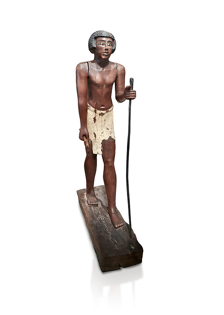 Ancient Egyptian wooden statue of Shemes,  Middle Kingdom (1980-1700 BC), tomb of Shimes, Asyut. Egyptian Museum, Turin.  white background<br /> <br /> In 1908 in Asyut, Egypt an intact tomb was discovered of an official named Shemes, it contained many rich grave goods. Two rectangular Coffins, one for Shemes and the other for a woman called Rehuerausen, possibly his wife. They carry typical Middle Kingdom decorations,