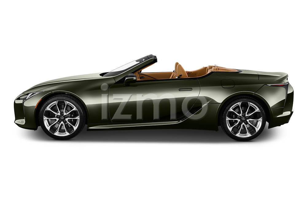 Car Driver side profile view of a 2021 Lexus LC-Convertible 500 2 Door Convertible Side View
