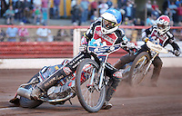 Heat 12: Ben Morley (blue) and Richard Lawson (red) - Lakeside Hammers vs Wolverhampton Wolves, Elite League Speedway at the Arena Essex Raceway, Pufleet - 04/07/14 - MANDATORY CREDIT: Rob Newell/TGSPHOTO - Self billing applies where appropriate - 0845 094 6026 - contact@tgsphoto.co.uk - NO UNPAID USE