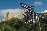 Harlech Castle Gwynedd Wales Uk Welsh language sign