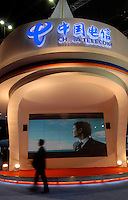 The booth of the China Telecom at ITU Telecom World 2006 at AsiaWorld-Expo in Hong Kong, China. China telecom is a dominant land-line based telecomunications provider in China and also holds a large market share in Internet related services..