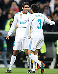 Real Madrid's Raphael Varane (l) and Jesus Vallejo celebrate the victory in the Champions League Quarter-Finals 2nd leg match. April 11,2018. (ALTERPHOTOS/Acero)