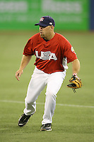 March 6, 2009:  First baseman Kevin Youkilis (21) of Team USA during the first round of the World Baseball Classic at the Rogers Centre in Toronto, Ontario, Canada.  Team USA defeated Canada 6-5 in both teams opening game of the tournament.  Photo by:  Mike Janes/Four Seam Images