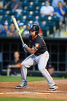 Fresno Grizzles second baseman Joe Sclafani (14) at bat during a game against the Oklahoma City Dodgers on June 1, 2015 at Chickasaw Bricktown Ballpark in Oklahoma City, Oklahoma.  Fresno defeated Oklahoma City 14-1.  (Mike Janes/Four Seam Images)