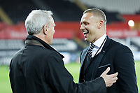 Swansea Club chairman Trevor Birch speaks with Club Ambassador Lee Trundle prior to the Sky Bet Championship match between Swansea City and Brentford at the Liberty Stadium, Swansea, Wales, UK. Tuesday 22 October 2019
