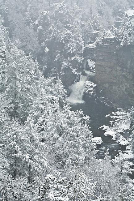 Linville Falls with fresh snow, Blue Ridge Parkway, North Carolina