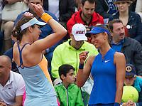 Paris, France, 29 June, 2016, Tennis, Roland Garros, Doubles Vitalia Diatchenko (RUS) (R) and her partner Galina Voskoboeva (KAZ)<br /> Photo: Henk Koster/tennisimages.com