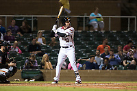 Salt River Rafters third baseman Drew Ellis (13), of the Arizona Diamondbacks organization, at bat in front of catcher Matt Winn (16) during an Arizona Fall League game against the Scottsdale Scorpions at Salt River Fields at Talking Stick on October 11, 2018 in Scottsdale, Arizona. Salt River defeated Scottsdale 7-6. (Zachary Lucy/Four Seam Images)