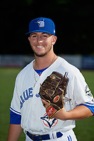 Bluefield Blue Jays pitcher Mike Pascoe (13) poses for a photo before a game against the Bristol Pirates on July 26, 2018 at Bowen Field in Bluefield, Virginia.  Bristol defeated Bluefield 7-6.  (Mike Janes/Four Seam Images)