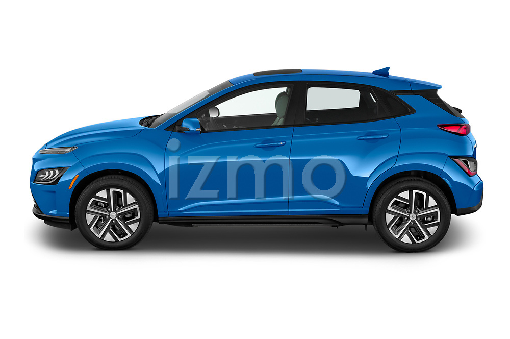Car Driver side profile view of a 2022 Hyundai Kona-Electric Limited 5 Door SUV Side View