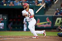 Springfield Cardinals catcher Gabriel Lino (5) follows through on a swing during a game against the Corpus Christi Hooks on May 31, 2017 at Hammons Field in Springfield, Missouri.  Springfield defeated Corpus Christi 5-4.  (Mike Janes/Four Seam Images)