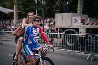 Arnaud Démare (FRA/Groupama-FDJ) riding a (his?) lady back to the team buses after finishing the Tour<br /> <br /> Stage 21: Houilles > Paris / Champs-Élysées (115km)<br /> <br /> 105th Tour de France 2018<br /> ©kramon