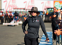 Jul 26, 2019; Sonoma, CA, USA; Kay Torrence, mother of NHRA top fuel driver Steve Torrence during qualifying for the Sonoma Nationals at Sonoma Raceway. Mandatory Credit: Mark J. Rebilas-USA TODAY Sports