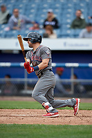 Lehigh Valley IronPigs center fielder Collin Cowgill (7) follows through on a swing during a game against the Syracuse Chiefs on May 20, 2018 at NBT Bank Stadium in Syracuse, New York.  Lehigh Valley defeated Syracuse 5-2.  (Mike Janes/Four Seam Images)