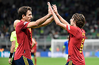 Mikel Oyarzabal of Spain and Bryan Gil of Spain during the Uefa Nations League semi-final football match between Italy and Spain at San Siro stadium in Milano (Italy), October 6th, 2021. Photo Andrea Staccioli / Insidefoto
