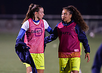 Silke Vanwynsberghe (21) of AA Gent and Nia Elyn (24) of AA Gent pictured during a female soccer game between  Racing Genk Ladies and AA Gent Ladies ,  on the 6 th  matchday of the 2021-2022 season of the Belgian Scooore Womens Super League , friday 8 october 2021  in Genk , Belgium . PHOTO SPORTPIX | JILL DELSAUX
