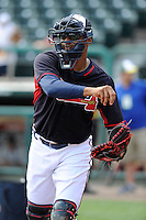 Catcher Christian Bethancourt (27) of the Atlanta Braves works out before a Spring Training game against the New York Yankees on Wednesday, March 18, 2015, at Champion Stadium at the ESPN Wide World of Sports Complex in Lake Buena Vista, Florida. The Yankees won, 12-5. (Tom Priddy/Four Seam Images)