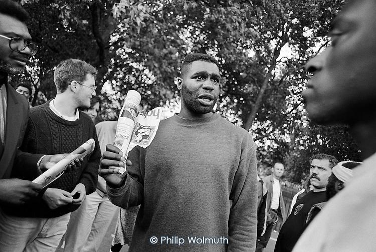 Heckler.  Speakers' Corner, Hyde Park, London.