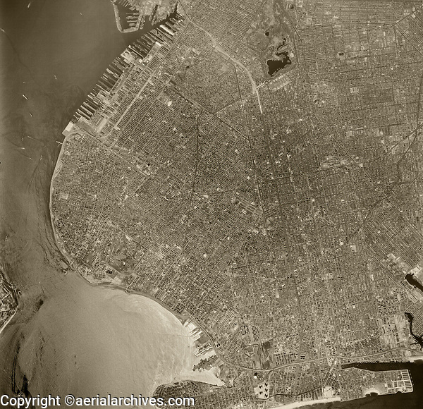 historical aerial photo Brooklyn, New York City, 1960