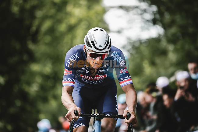 Mathieu Van Der Poel (NED) Alpecin-Fenix attacks on the first ascent of Mur-de-Bretagne to take time bonus during Stage 2 of the 2021 Tour de France, running 183.5km from Perros-Guirec to Mur-de-Bretagne Guerledan, France. 27th June 2021.  <br /> Picture: A.S.O./Pauline Ballet | Cyclefile<br /> <br /> All photos usage must carry mandatory copyright credit (© Cyclefile | A.S.O./Pauline Ballet)
