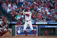 Tanner Tredaway (10) of the Oklahoma Sooners at bat against the Arkansas Razorbacks in game two of the 2020 Shriners Hospitals for Children College Classic at Minute Maid Park on February 28, 2020 in Houston, Texas. The Sooners defeated the Razorbacks 6-3. (Brian Westerholt/Four Seam Images)