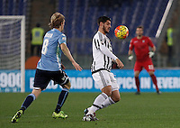 Calcio, Serie A: Lazio vs Juventus. Roma, stadio Olimpico, 4 dicembre 2015.<br /> Juventus' Alvaro Morata, right, is chased by Lazio's Dusan Basta during the Italian Serie A football match between Lazio and Juventus at Rome's Olympic stadium, 4 December 2015.<br /> UPDATE IMAGES PRESS/Isabella Bonotto