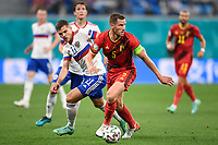 ST PETERSBURG, RUSSIA - JUNE 12 : Roman Zobnin midfielder of Russia and Jan Vertonghen defender of Belgium battle for the ball pictured during the 16th UEFA Euro 2020 Championship Group B match between Belgium and Russia on June 12, 2021 in St Petersburg, Russia, 12/06/2021 <br /> Photo Photonews / Panoramic / Insidefoto <br /> ITALY ONLY