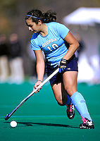 25 October 2009: Columbia University Lion backfielder Desi Scherf, a Sophomore from Cologne, Germany, in action against the University of Vermont Catamounts at Moulton Winder Field in Burlington, Vermont. The Lions shut out the Catamounts 1-0. Mandatory Credit: Ed Wolfstein Photo
