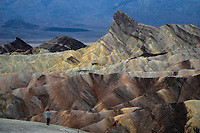 The eroded sandstone rock formations of Zabriske Point at Death Valley National Park, California