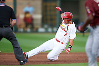 Springfield Cardinals outfielder Nick Martini (3) slides into second during a game against the Frisco RoughRiders  on June 3, 2015 at Hammons Field in Springfield, Missouri.  Springfield defeated Frisco 7-2.  (Mike Janes/Four Seam Images)