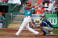 Xavier Scruggs (15) of the Springfield Cardinals swings at a pitch against the Corpus Christi Hooks at Hammons Field on August 19, 2012 in Springfield, Missouri.(Dennis Hubbard/Four Seam Images)