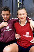 Sarajevo, Bosnia. Boys wearing local football team shirts.