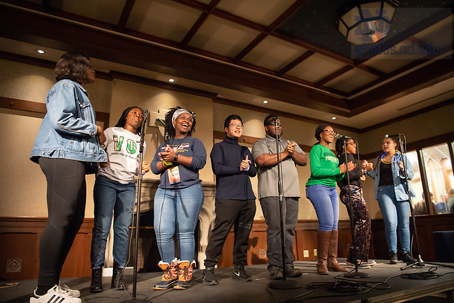 """January 23, 2019; The Voices of Faith choir performs at Campus Ministry's """"CoMoPaLooza"""" event, a meet-greet and information event for Campus Ministry groups and events. (Photo by Matt Cashore/University of Notre Dame)"""