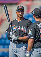 7 March 2016: Miami Marlins outfielder Justin Maxwell awaits his turn in the batting cage prior to a Spring Training pre-season game against the Washington Nationals at Space Coast Stadium in Viera, Florida. The Nationals defeated the Marlins 7-4 in Grapefruit League play. Mandatory Credit: Ed Wolfstein Photo *** RAW (NEF) Image File Available ***