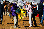 November 7, 2020 : War of Will's saddle towel is cleaned off after the Big Ass Fans Dirt Mile on Breeders' Cup Championship Saturday at Keeneland Race Course in Lexington, Kentucky on November 7, 2020. Carolyn Simancik/Breeders' Cup/Eclipse Sportswire/CSM
