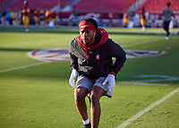 LOS ANGELES, CA - SEPTEMBER 11: Omari Porter #27 of the Stanford Cardinal warms up before a game between University of Southern California and Stanford Football at Los Angeles Memorial Coliseum on September 11, 2021 in Los Angeles, California.