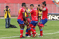 PASTO -COLOMBIA, 15-04-2018: Jugadores del Deportivo Pasto celebran después de anotar el segundo gol a Envigado FC durante partido por la fecha 15 de la Liga Águila II 2018 jugado en el estadio La Libertad de Pasto. / Players of Deportivo Pasto celebrate after scoring the second goal to Envigado FC during match for the date 15 of Aguila League II 2018 played at La Libertad stadium in Pasto. Photo: VizzorImage / Leonardo Castro / Cont