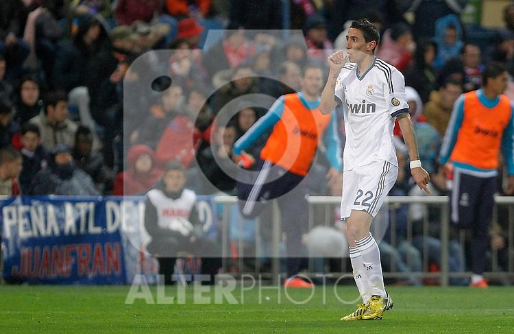 Real Madrid's Angel Di Maria celebrates during La Liga match. April 27, 2013. (ALTERPHOTOS/Alvaro Hernandez)