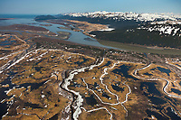 Aerial of the Bering River and wetland are of Copper River Delta, Chugach Mountans,  southcentral, Alaska.