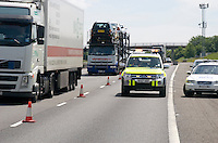 Highways Agency Mitsubishi Shogun parked in a fend off position in lane one of the M40. This image may only be used to portray the subject in a positive manner..©shoutpictures.com..john@shoutpictures.com