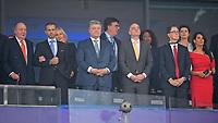 26.05.2018,  Football UEFA Champions League Finale 2018, Real Madrid - FC Liverpool, Olympiastadium Kiew (Ukraine). ehemalige spanische Koenig Juan Carlos ()Arm of  UEFA president Aleksander Ceferin (2) , FIFA president Gianni Infantino (3v.r.) Politik. Ukraine. Der ukrainische Praesident Petro Oleksijowytsch Poroschenko, Staatspraesident. <br />  *** Local Caption *** © pixathlon<br /> <br /> Contact: +49-40-22 63 02 60 , info@pixathlon.de