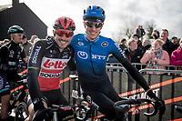 Former teammates & friends at Trek-Segafredo the previous season, John Degenkolb (DEU/Lotto-Soudal) & Michael Gogl (AUT/NTT) meet again on the start grid<br /> <br /> 72nd Kuurne-Brussel-Kuurne 2020 (1.Pro)<br /> Kuurne to Kuurne (BEL): 201km<br /> <br /> ©kramon