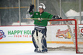 Notre Dame Fighting Irish of Batavia goalie Tyler Stroud (31) during a varsity ice hockey game against the Brockport Blue Devils during the Section V Rivalry portion of the Frozen Frontier outdoor hockey event at Frontier Field on December 22, 2013 in Rochester, New York.  (Copyright Mike Janes Photography)