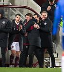 29.02.2020 Hearts v Rangers: Daniel Stendel celebrates at full time