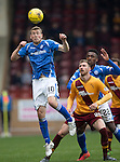 Motherwell v St Johnstone….07.05.16  Fir Park, Motherwell<br />David Wotherspoon gets above Louis Moult<br />Picture by Graeme Hart.<br />Copyright Perthshire Picture Agency<br />Tel: 01738 623350  Mobile: 07990 594431