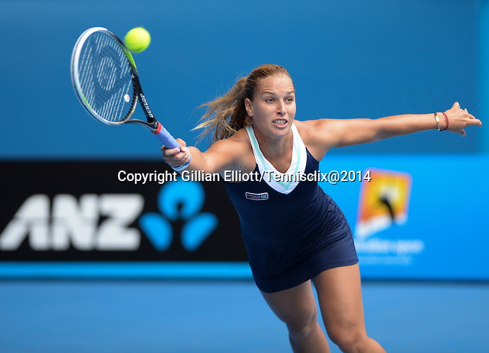 Dominika Cibulkova (SVK) defeats Maria Sharapova (RUS) 3-6, 6-4, 6-1,  at the Australian Open in Melbourne, Australia on January 20, 2014